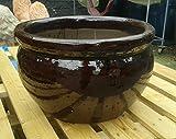 Blumentopf 43 cm Durchmessser, braun glasierte Keramik Steingut Garten Deko Blumenkübel Pflanztopf