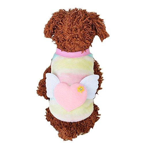 Hawkimin Haustier Katzen Hundewelpen Warmer Strickweste, Regenbogen Streifen Weste Jacken Kleidungs Nette Flügel Herzform Kostüm