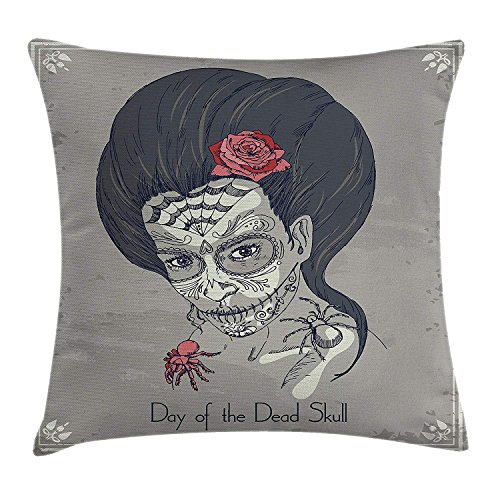 ZMYGH Day of The Dead Decor Throw Pillow Cushion Cover, Dia de Los Muertos Skull Girl with Roses Image Print, Decorative Square Accent Pillow Case,Charcoal Grey Dimgrey Pink 20x20inches