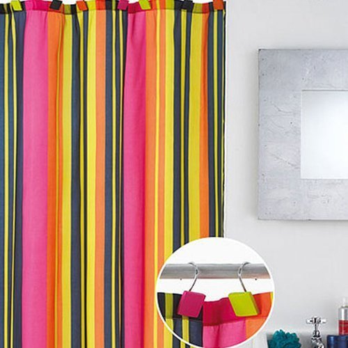 Calypso Stripe Shower Curtain with Hooks by Country Club
