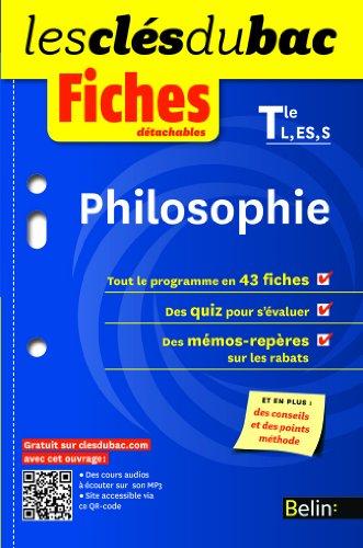 Philosophie Tles L, ES, S : Fiches détachables