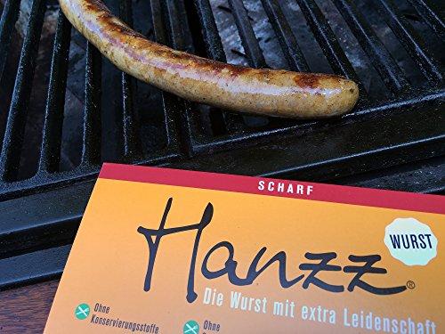 Hanzz Wurst scharfe Bratwurst – Grillwurst + Tamarillo Dip + Gewürz: 12 x Gourmet Wurst plus 3 x Hanzz Tunke