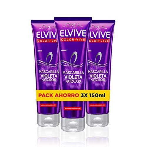 L\'Oréal Paris Elvive Color Vive Mascarilla Violeta Matizadora para el Pelo con Mechas, Rubio o Gris - Paquete de 3 x 150 ml - Total: 450 ml