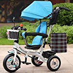 keyi le Durable and Sturdy Multifunctional Childrens Tricycle Baby Trolley 1-6 Years Old Infant Child Bicycle Removable Boys And Girls Bike Multi-color Cloth Awning (Color : White-D)