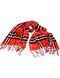 Large Soft designer check style soft Plaid scarf Red