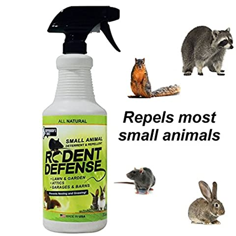 Rodent Defense Small Animal All Natural Deterrent and Repellent 0.9L Spray for squirrels, rabbits, rats, cats,and