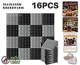 Ace Punch 16 Stücke SCHWARZ UND GRAU Kombination Pyramide Akustikschaumstoff