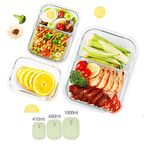 Brotdose Fach Lunch Box Bento Partition 3-teiliges Set Glasbehälter Trennung Isoliert Auslaufsicher Tragbare Mikrowelle Teen School Office MUMUJIN (Color : Green) (Office Glas Lunch-box)