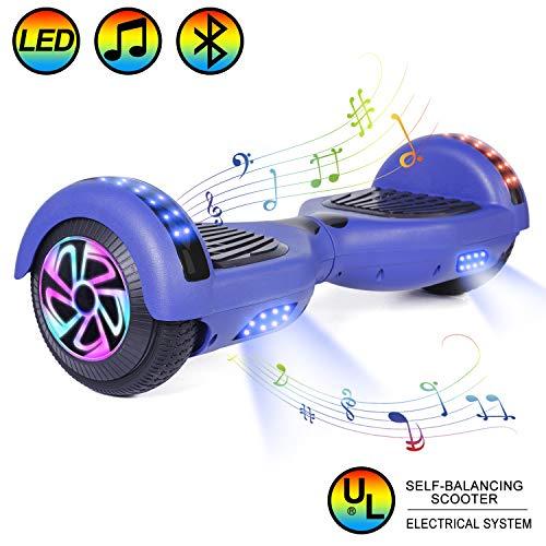 """HOVER-ONE 6,5""""selbstbalancierendes Hoverboard, 2 Räder Elektroscooter mit blauem Bluetooth, LED-Hoverboard für Kinder Und Erwachsene (Mit kostenloser Tragetasche und europäischem Stecker, Blau)"""