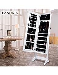LANGRIA Armario Joyero de Pie con Espejo para Joyas, Lacado Blanco y Terciopelo Negro Interior (Sin Cajón)