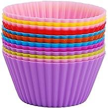 Moules à Muffin, LoveChef Moules en silicone (Lot de 12) Anti-Adhésif pour Muffins Cupcake, Brownies et etc -7cm Diamètres (Rose/Vert/Violet/Orange/Bleu/Rouge)