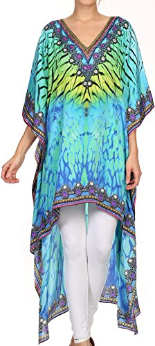 Sakkas SS1656 KF2503402A - HiLowKaftan Laisson Hi Low Kaftan Kleid Top Cover/Up Fit mit bedrucktem Muster - Grün Gelb - OS
