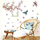 JYSPORT wandaufkleber kinderzimmer Blume Abnehmbar für DIY selbstklebende für Mädchen /Junge Paare Raumdekoration Multi-Stil (Frühlings-Vogel und Pfirsich)
