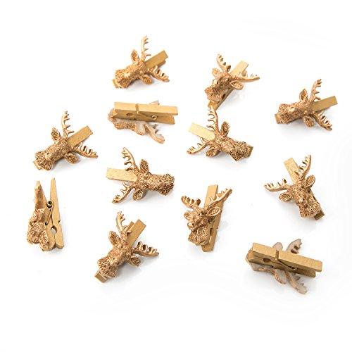 12 Stück kleine gold farbene Hirsch Dekoklammern Geweih jagdlich Zierklammern Hirschkopf Jagd Weihnachten Dekoration mini Wäscheklammern Holzklammern Deko Klammern für alle Feste - edel (Hirsch-dekoration)