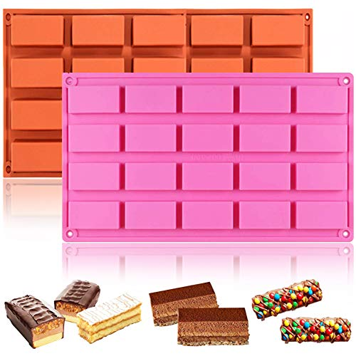 WENTS Rechteckige Form 2PCS Silikonform für Kuchen, Backen, Rinde, Kuchen, Muffins, handgemachte Seife, Kekse, Schokolade, Eiswürfel, 20 Rechtecke