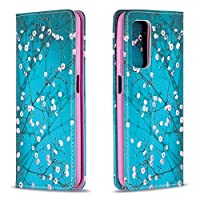 ‏‪Mylne Wallet Folio Flip PU Leather Case for Huawei P Smart 2021,Creative Painted Design Full-Body Protective Cover Card Holder Kickstand Magnetic,Blue Flower‬‏