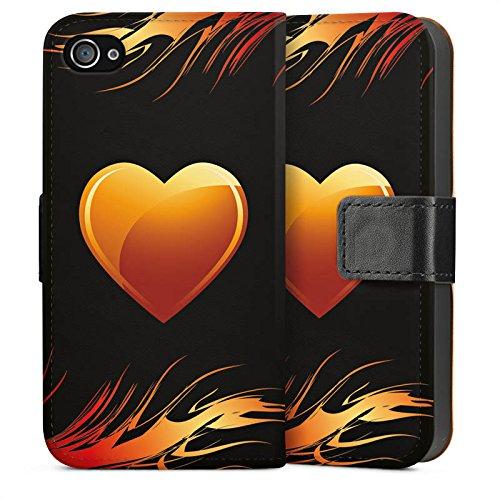 Apple iPhone 4 Housse Étui Silicone Coque Protection C½ur Flammes Amour Sideflip Sac