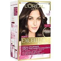 L'Oréal Paris Excellence Creme, Tinta Colorante con Triplo Trattamento Avanzato, Copre i Capelli Bianchi per un Risultato a Lunga Durata, 3 Castano Scuro