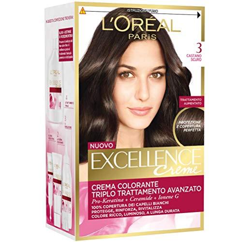 L'Oréal Paris Excellence Creme, Tinta Colorante con Triplo Trattamento Avanzato, Copre i Capelli Bianchi, 3 Castano Scuro