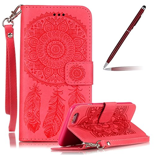 iPhone 6 Hülle,iPhone 6S Ledertasche - Felfy PU Ledertasche Luxe Bookstyle Ledertasche Schutzhülle Edle Temperament Campanula Flower Muster Flip Standfunktion Magnetverschluss Protection Shell Case Hü Rote case