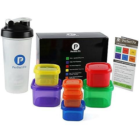 7 pezzi, contenitore Dosatore di porzioni Kit 100% a prova di perdite, multicolore, sistema a 21 giorni e simili Fix-SHAKER BOTTLE inclusa