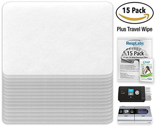 CPAP Filters 15 Pack - For ResMed AirSense 10, S9, AirStart & AirCurve  Devices - Plus Travel Wipe + 3 eBooks - RespLabs Medical Inc ®