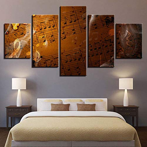 mmwin Wandkunst Poster Moderne Wohnkultur Wohnzimmer Schlafzimmer 5 Stücke Hinweis Retro Score Leinwanddruck Modulare Bilder Arbeit -
