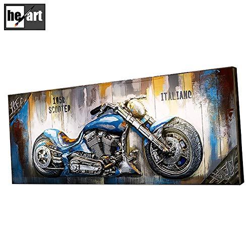 Rahmen Artwork Rollerbild Motorräder 3D Metall Gemälde nach Hause Dekorationen Retro-Stil Poster mit Holzbrett bereit zu hängen,B