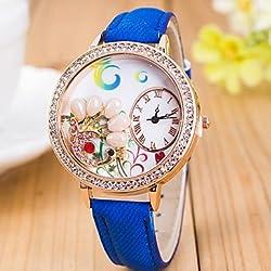 Beautiful Watches , L.WEST Ladies' 3D Pearl Peacock Diamonds Denim Silicone Quartz Watch Cool Watches Unique Watches
