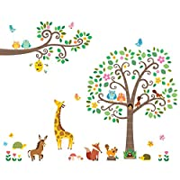 Decowall Tree Scroll Branches and Animals Kids Wall Stickers Wall Decals (1512N / 1502N / 1502P1512)