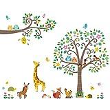 Decowall DA-1502P1512 Groß Blätter Baum und Zweige Waldtiere Tiere Wandtattoo Wandsticker Wandaufkleber Wanddeko für Wohnzimmer Schlafzimmer Kinderzimmer