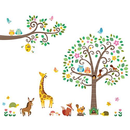 Decowall dm-1502p1512 grandi adesivi con alberi e rami con animali adesivi da parete decorazioni parete stickers murali soggiorno asilo nido camera da letto per bambini