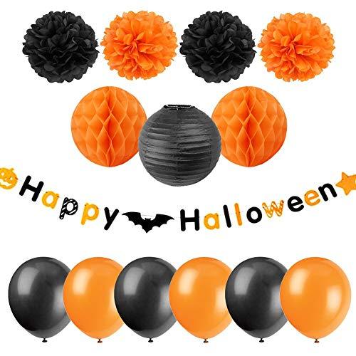 Halloween Party Supplies Happy Halloween Banner schwarz orange Seidenpapier Pom Poms Wabenbälle Latex-Luftballons All in One Pack 14 Stück