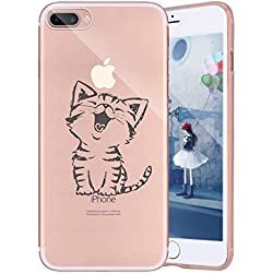 Funda Cover iPhone 7 plus,Ukayfe Funda de Silicona TPU para iPhone 7 plus Carcasa Transparente Soft Clear Case Cover Funda Blanda Flexible Carcasa Delgado Ligero Caja Anti Rasguños Anti Choque con Diseño Creativo-Gato feliz