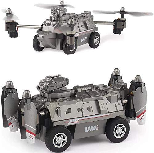 MECFIGH 2.4G all Terrain 2 in 1 modalità Aria e Terra Arrampicata Auto Fuori Strada Quadcopter 0.2MP Car Stunts FPV Elicottero Drone Serbatoio Giocattoli Auto Resistente agli Urti Regalo Bambini