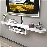 ZHIRONG Wand-TV-Konsole TV Schrank 2 Schicht Wand Regale Wand Dekoration Set Top Box Router Rack 120 * 20 * 17 cm (Farbe : Weiß)