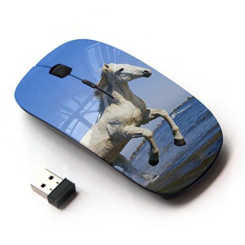 FJCases Weiß Pferd Hengst Tier 2.4 GHz Ergonomische drahtlose Maus (mit Nano Empfänger) (Vaio Maus Weiße)