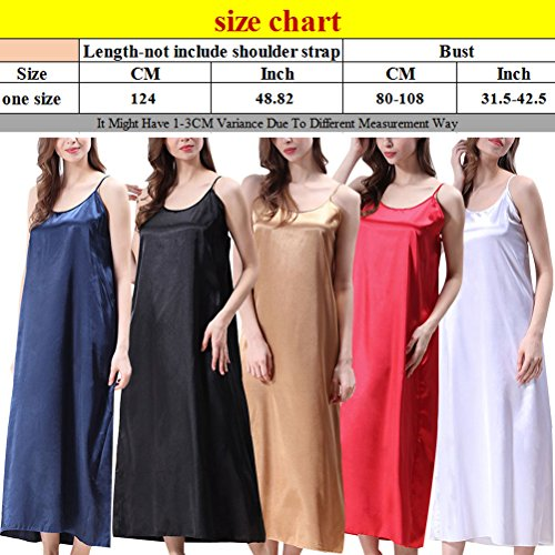 Zhhlinyuan Women's Long Style Sleep Skirt Comfortable Silk Nightwear 5 Colors CQ351 White