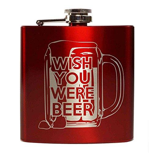 "E-Volve Fiaschetta Hip Flask - 6oz - Accaio inox - Rosso - ""Wish you were Beer"""