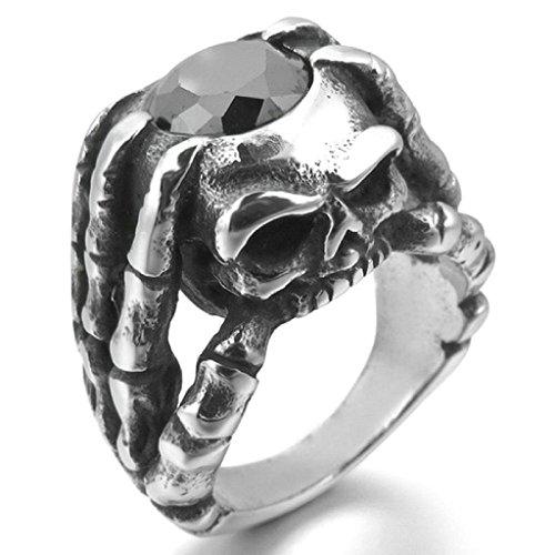 AooazEdelstahl Ringe für Herren CZ Schädel Finger-Durchbrochene Silber Schwarz Gothic Größe 70 (22.3) (Leuchtendes Kostüm Zeichen)