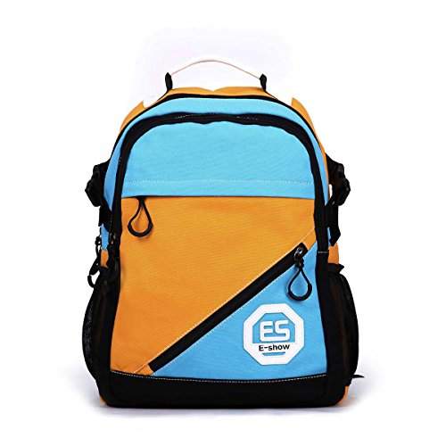 Eshow Damen Canvas Reise Sportlich Freizeit Uni Wochenende Schultasche Rucksack Taschen Blau und Gelb