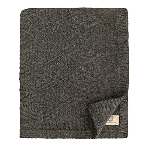 Linen & Cotton Leicht Decke Wolldecke Gestrickt Arianna - 100% Reine Neuseeland Wolle, Grau Anthrazit (120 x 180cm) Wohndecke Kuscheldecke Strick/Sofadecke/Strickdecke/Plaid Schurwolle Couch Sofa -