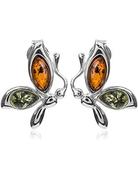 Grüner Bernstein Sterling Silber Schmetterling Stecker Ohrringe