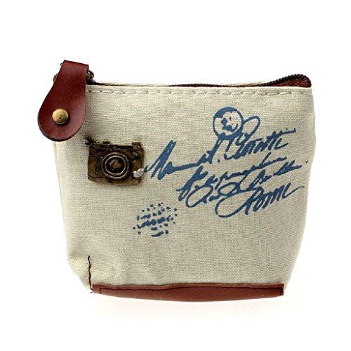 Internet Femmes Filles Toile Rétro sac à Pièce sac à main pochette carte affaire à main 10.5cmX8cmX3.5cm (Beige)