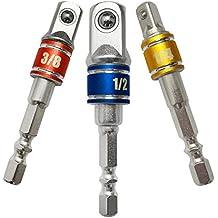 Feifox Sechskant Stecknussadapter 3-teiliges Stecknuss Adapter Steckschlüssel Schraubenschlüssel Nuss Set Verbindung Verlängerung für Akkuschrauber ,1/4'' 3/8'' 1/2'' Adapter Set(3-teiliges)