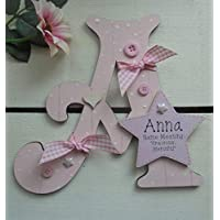 Name Meaning Baby GIRL Wooden Letter **ANY LETTER with ANY NAME Available** Personalised (L Pink) PLEASE READ DESCRIPTION