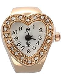SODIAL(R)Reloj de anillo de dedo para mujeres Banda elastica cascara forma del corazon tono de cobre