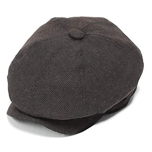 Coucoland Schirmmütze Newsboy Flat Cap Gatsby Barett Cap Herren Schiebermütze Baskenmütze 1920s Stil Herren Gatsby Kostüm Accessoires (Kaffee, M) (Jahren Männer 1920er Hüte)