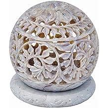Zap Impex® Escultura de piedra de té luz vela titular de flores talladas, figuras decorativa vela Farol n-incomparable Principal, hecho a mano Decoración Gres 3pulgadas