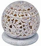 Zap Impex  ® Teelicht Stein-Skulptur Teelichtkerzenhalter mit Geschnitzte Blumen, Figuren Dekorative Kerze Laterne Einzigartige Handgemachte Hauptdekor Steingut 3 Zoll
